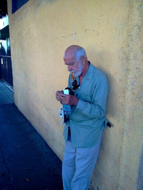 Athol Fugard outside The Fountain Theatre in 2012.