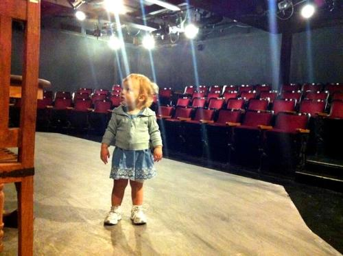 An aspiring actress on the Fountain Theatre stage.