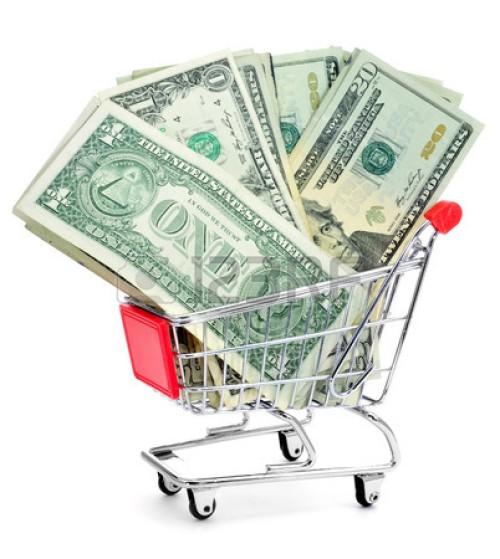 shopping cart dollars