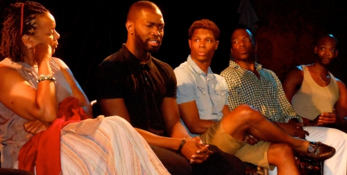 Tarell McCraney and the company of The Brothers Size.