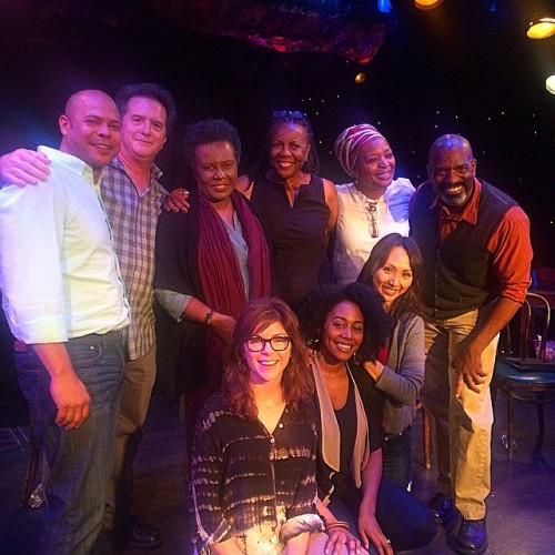 The company of CITIZEN with author Claudia Rankine (standing, 3rd from left) on Fountain stage.