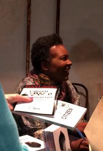 Claudia Rankine signs books at the Fountain Theatre