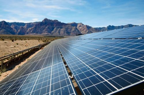 Solar panels in the Mojave Desert.